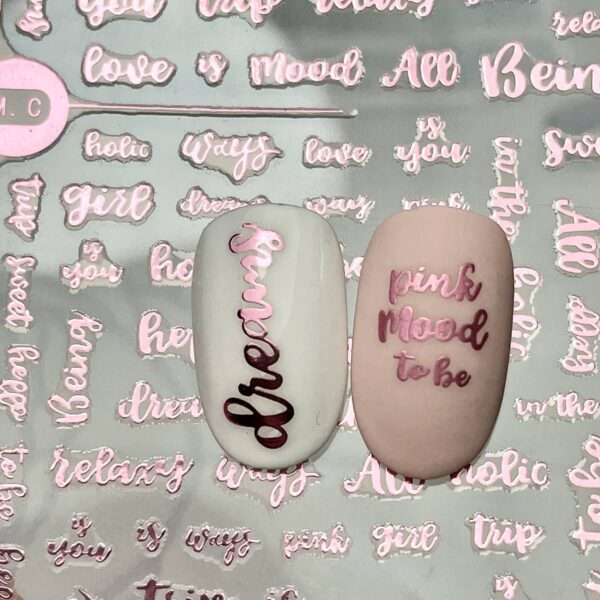 stickers rosegold words