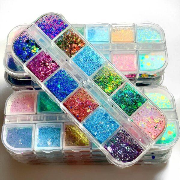 box mix paillettes unghie