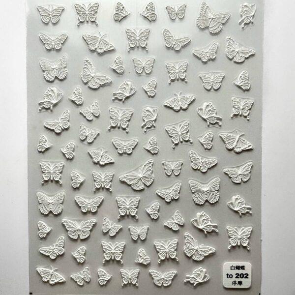 stickers farfalle 5D bianco